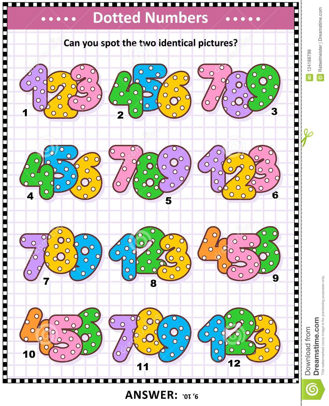 Fun With Numbers Activity Sheet Stock Vector