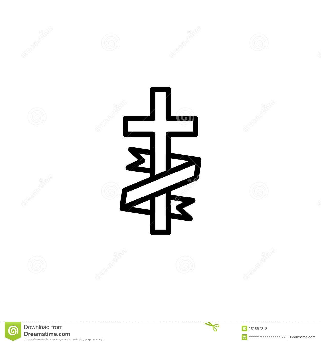 Funeral flat icon. stock vector. Illustration of bible