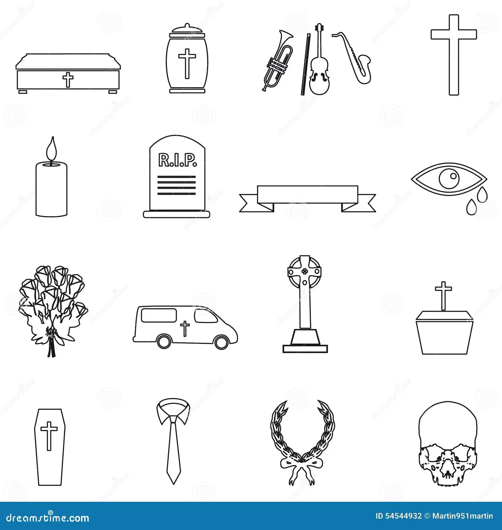Vector Set Of Funeral Icons. Burial Cartoon Vector