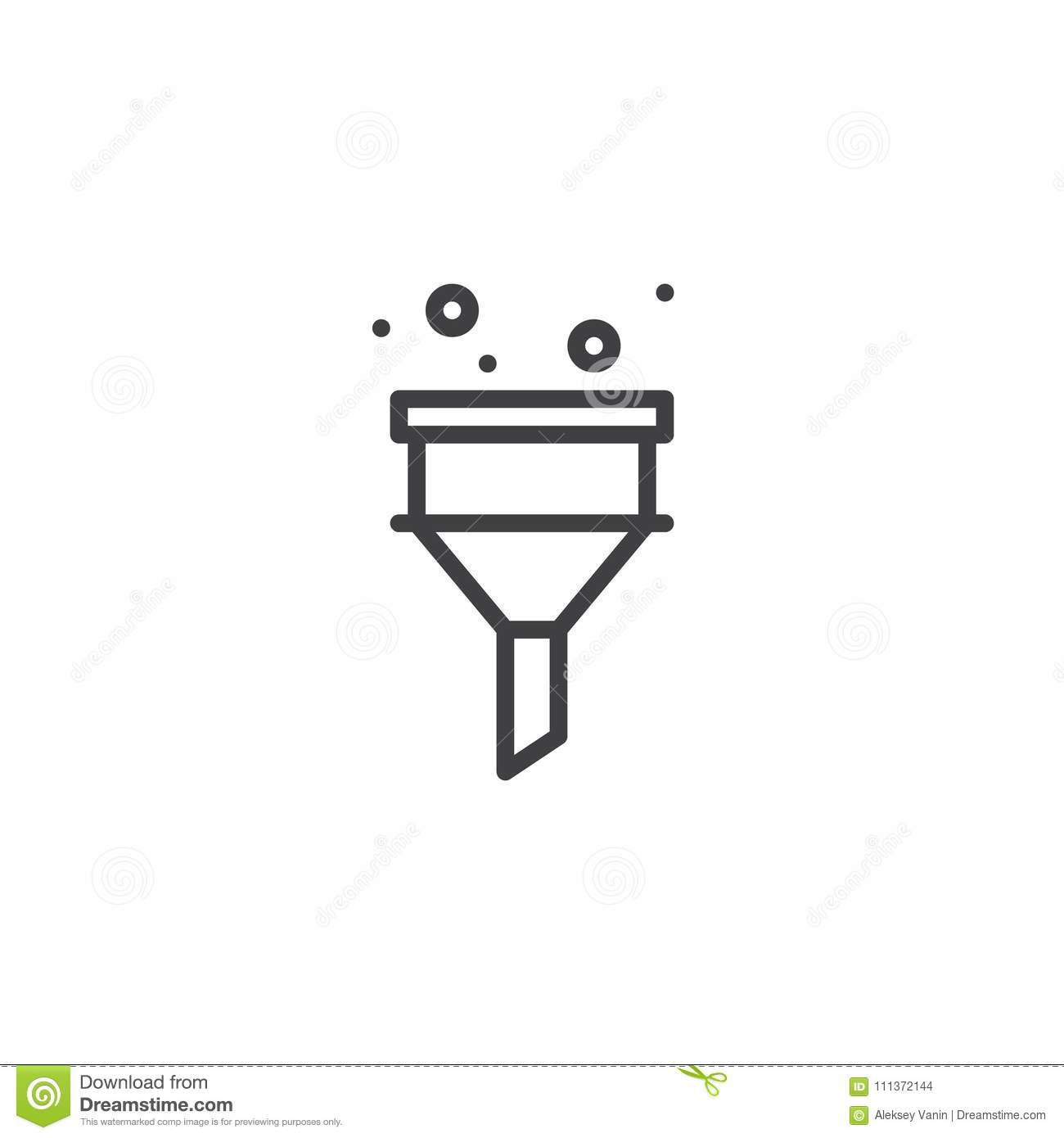 Funnel Filter Outline Icon Stock Vector Illustration Of