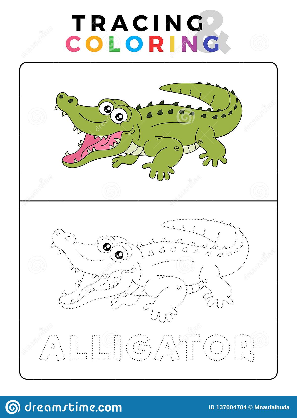 Funny Alligator Crocodile Animal Tracing And Coloring Book