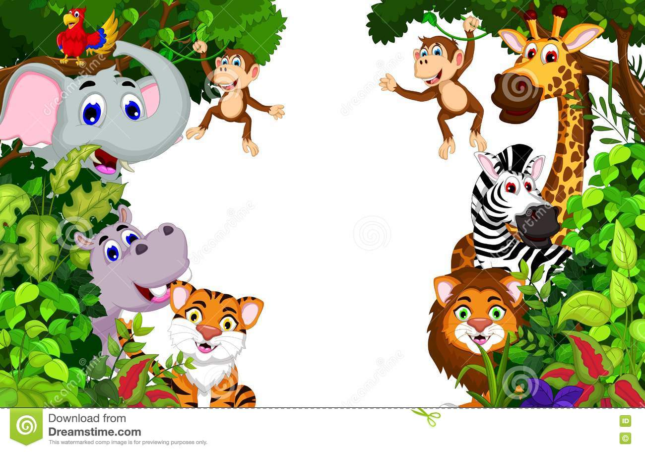 Funny Animal Cartoon With Forest Background Stock