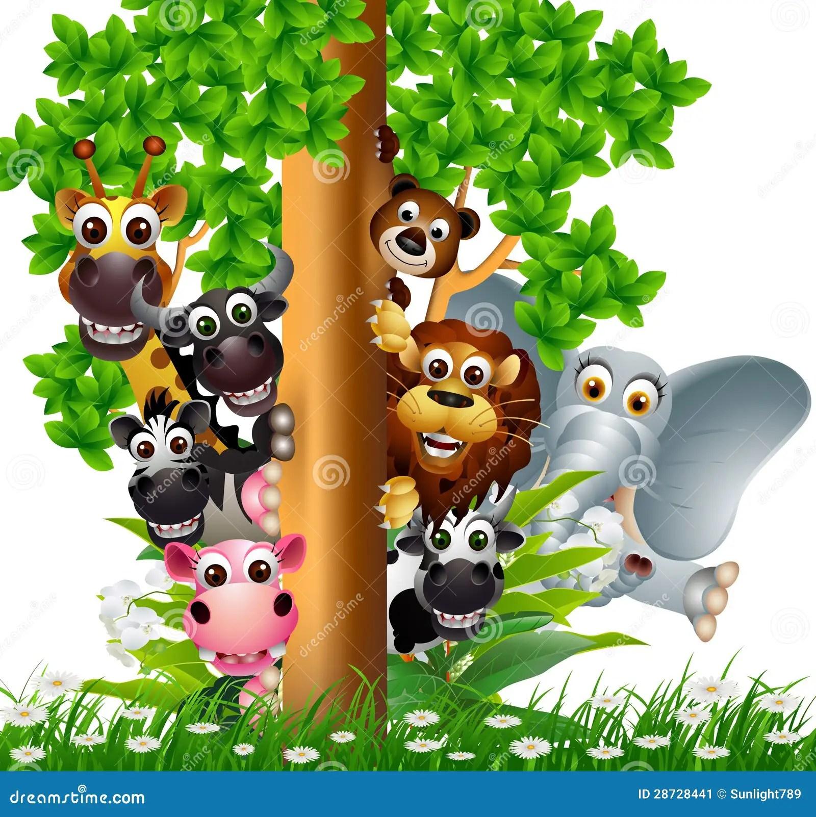 Cute Cartoon Elephant Wallpaper Funny Animal Wildlife Cartoon Collection Stock