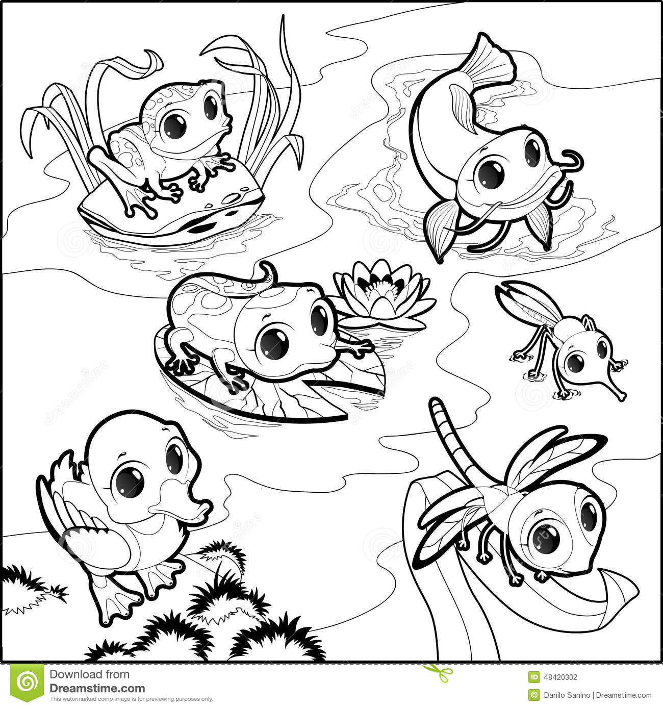 Funny Animals In The Pond Stock Vector Image Of Cartoon