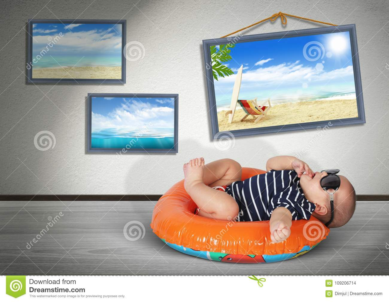 Funny Baby On Swimming Circle At Home As On The Beach Vacation Stock Photo Image Of Adventure Travel 109206714
