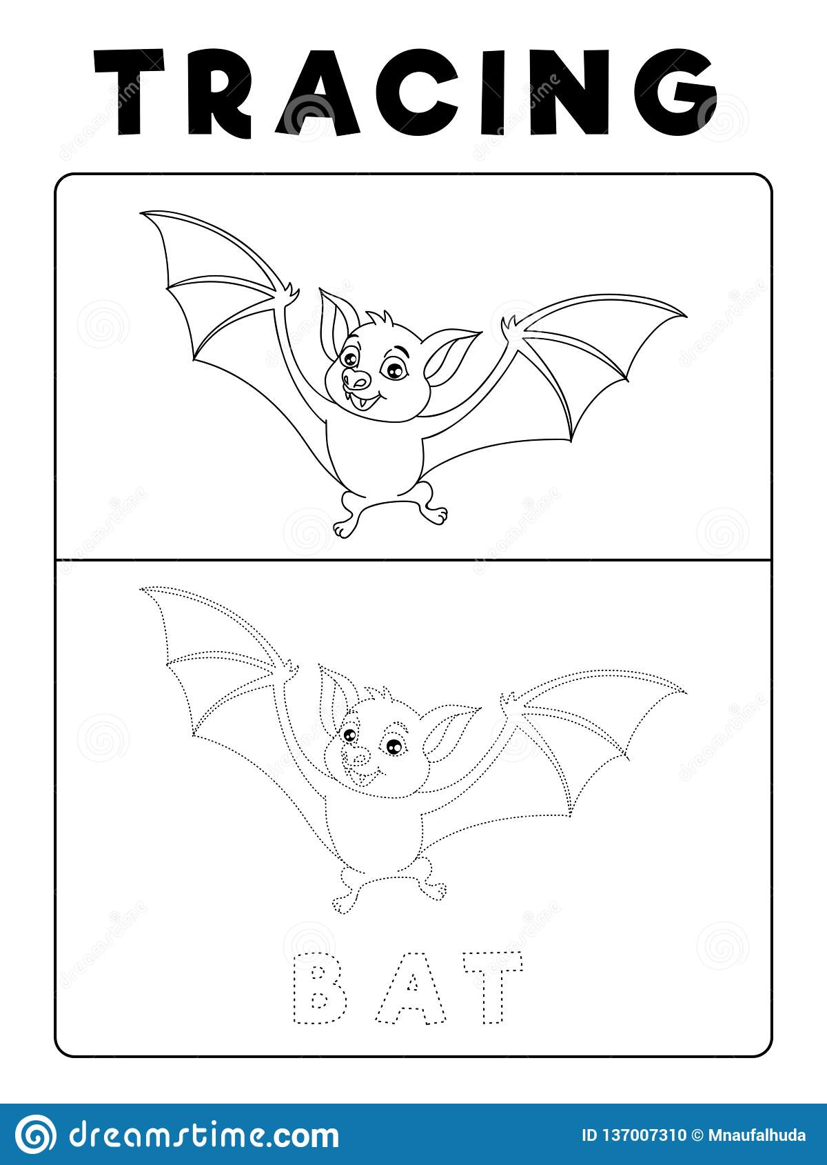 Funny Bat Tracing Book With Example Preschool Worksheet
