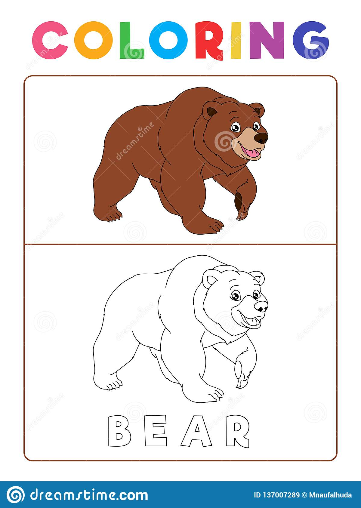 Funny Bear Coloring Book With Example Preschool Worksheet