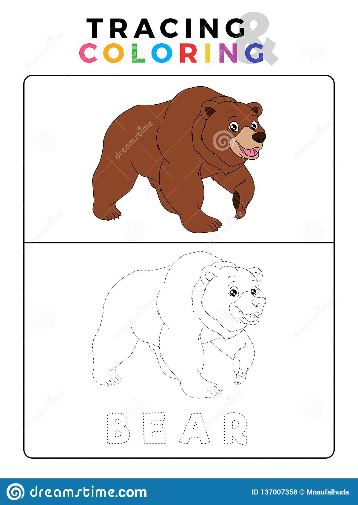 Funny Bear Tracing And Coloring Book With Example
