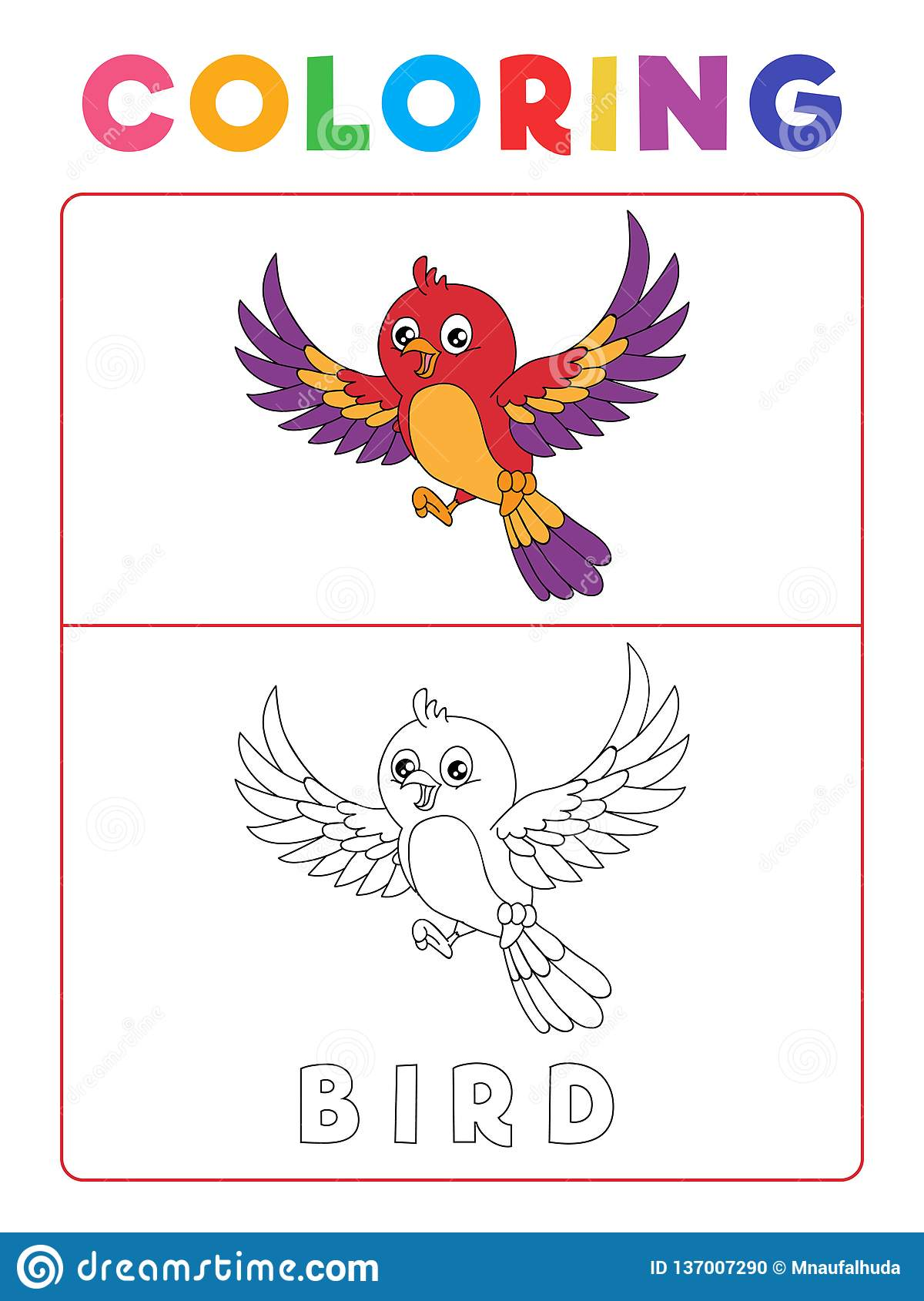Funny Bird Coloring Book With Example Preschool Worksheet