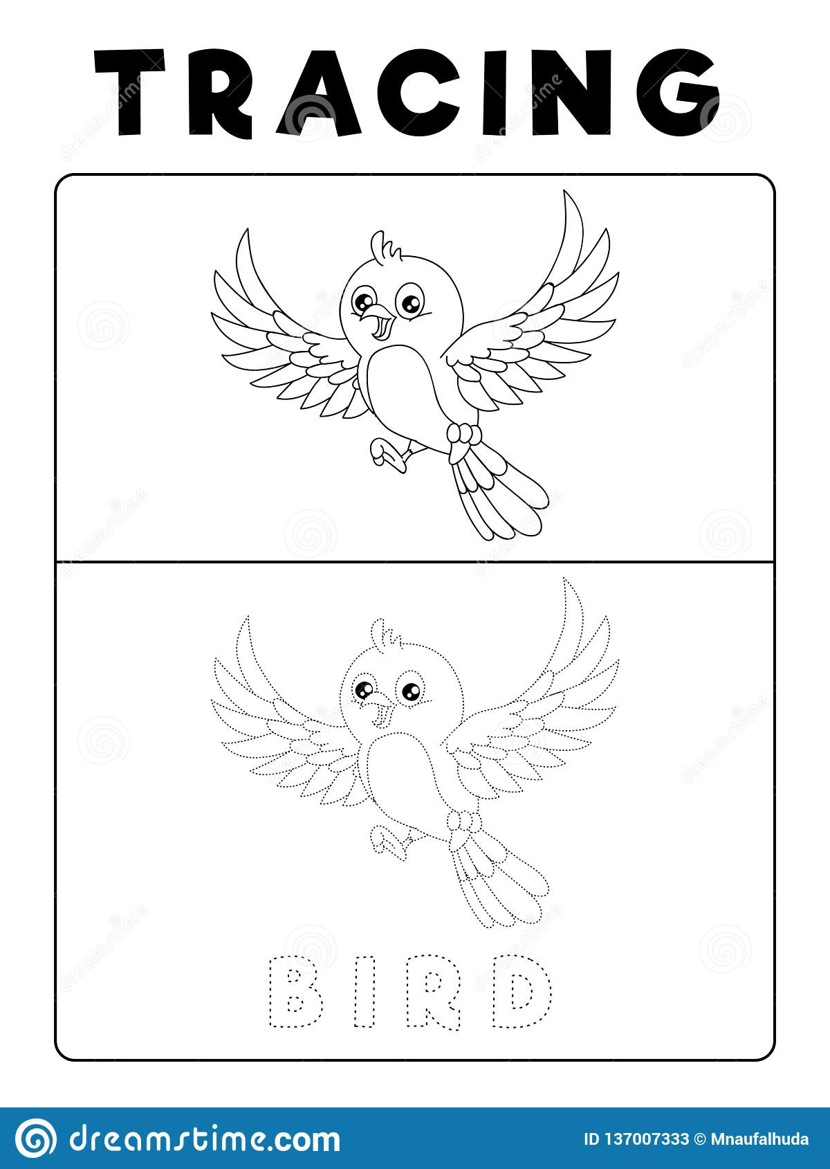 Funny Bird Tracing Book With Example Preschool Worksheet