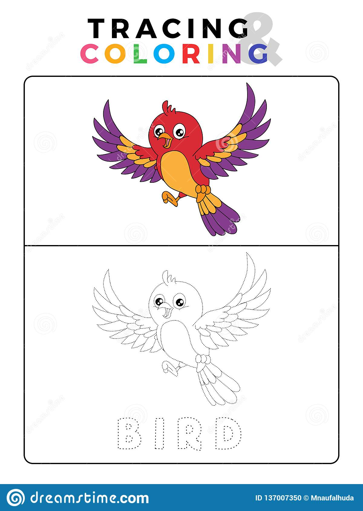 Funny Bird Tracing And Coloring Book With Example