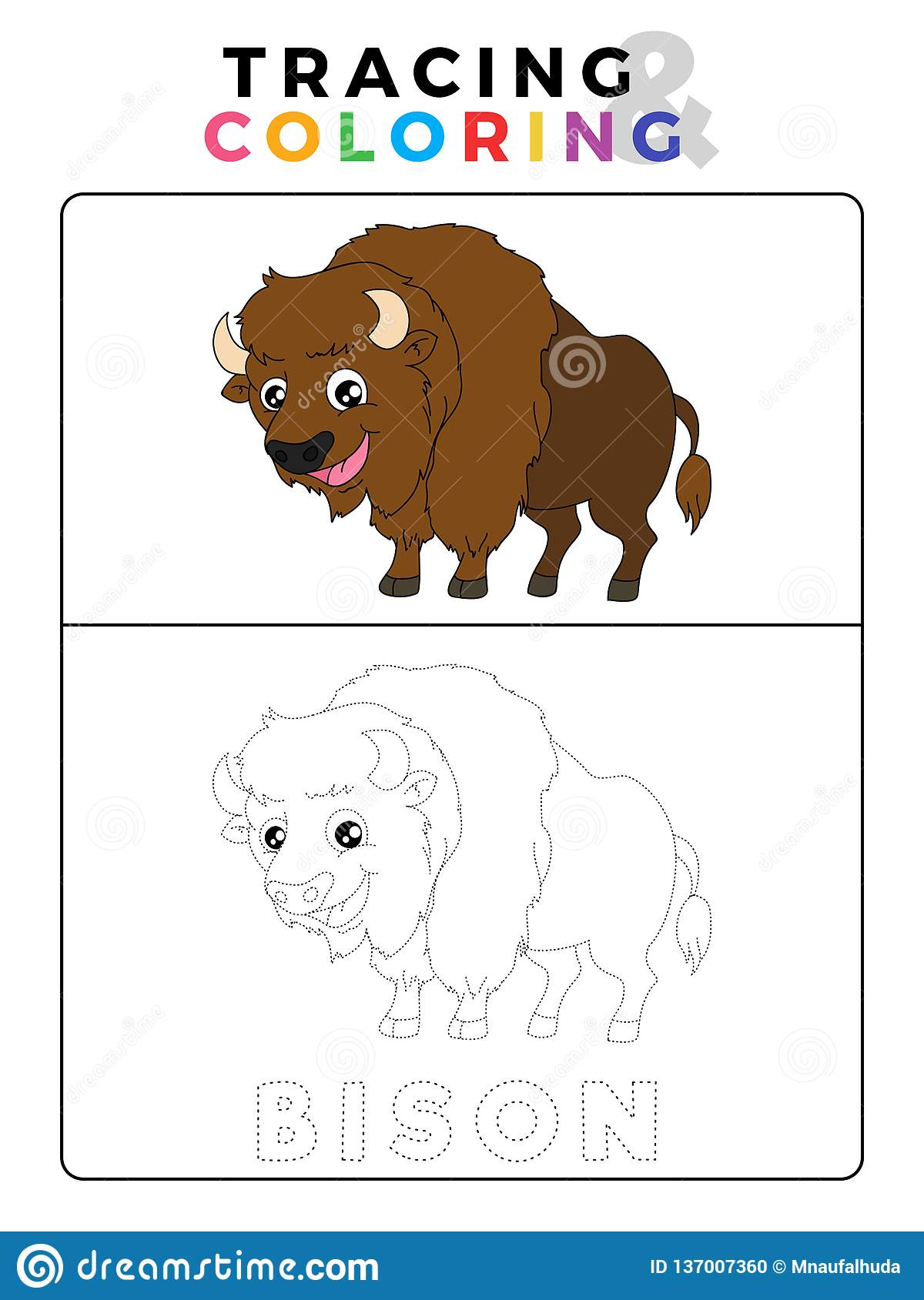 Funny Bison Tracing And Coloring Book With Example