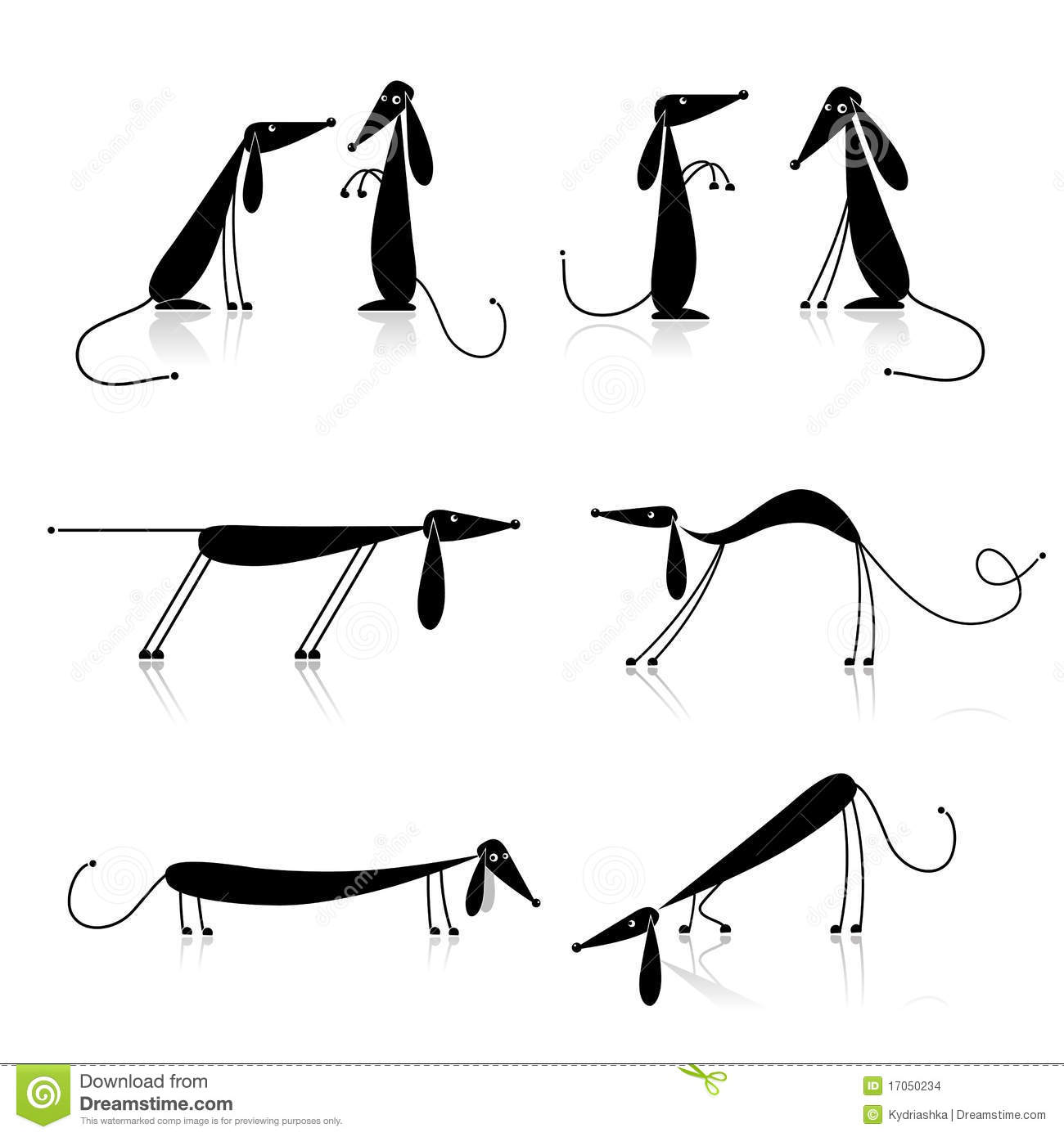 Funny Black Dogs Silhouette Collection Stock Vector