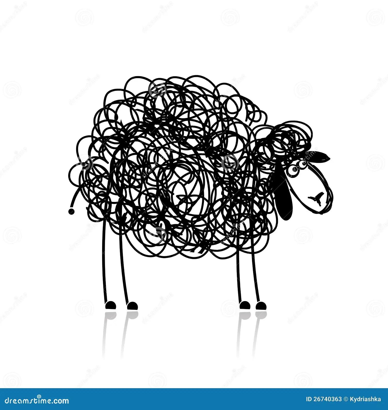 Funny Black Sheep Sketch Stock Photos