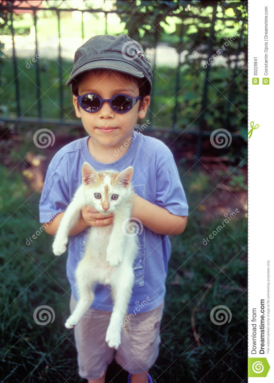 Cute Boy Wallpaper Free Download Boy Holding Cat Stock Image Image Of Scared Animal