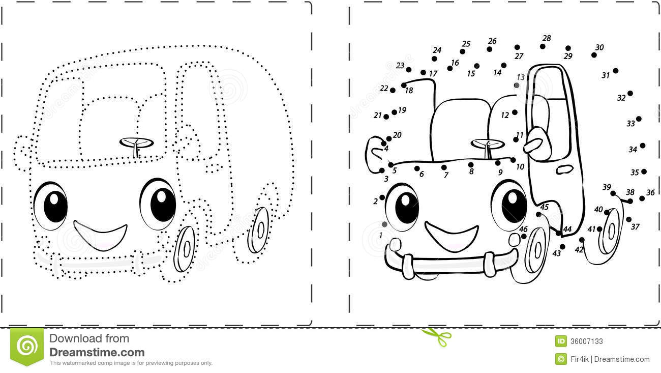 Funny Bus Drawing With Dots And Digits Stock Photos