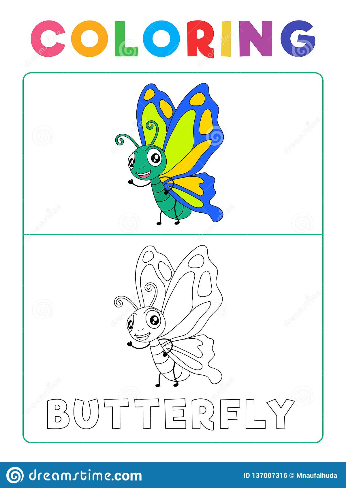 Funny Butterfly Coloring Book With Example Preschool