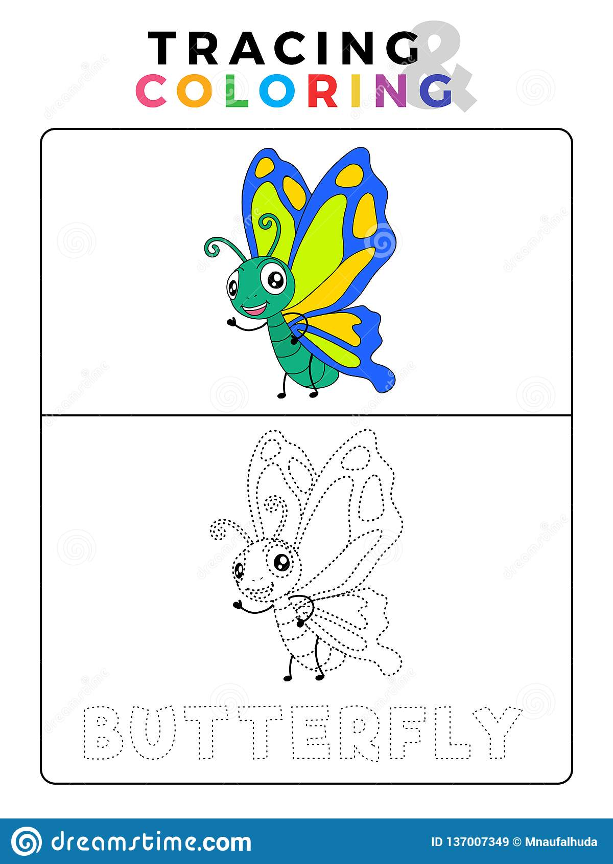 Funny Butterfly Tracing And Coloring Book With Example