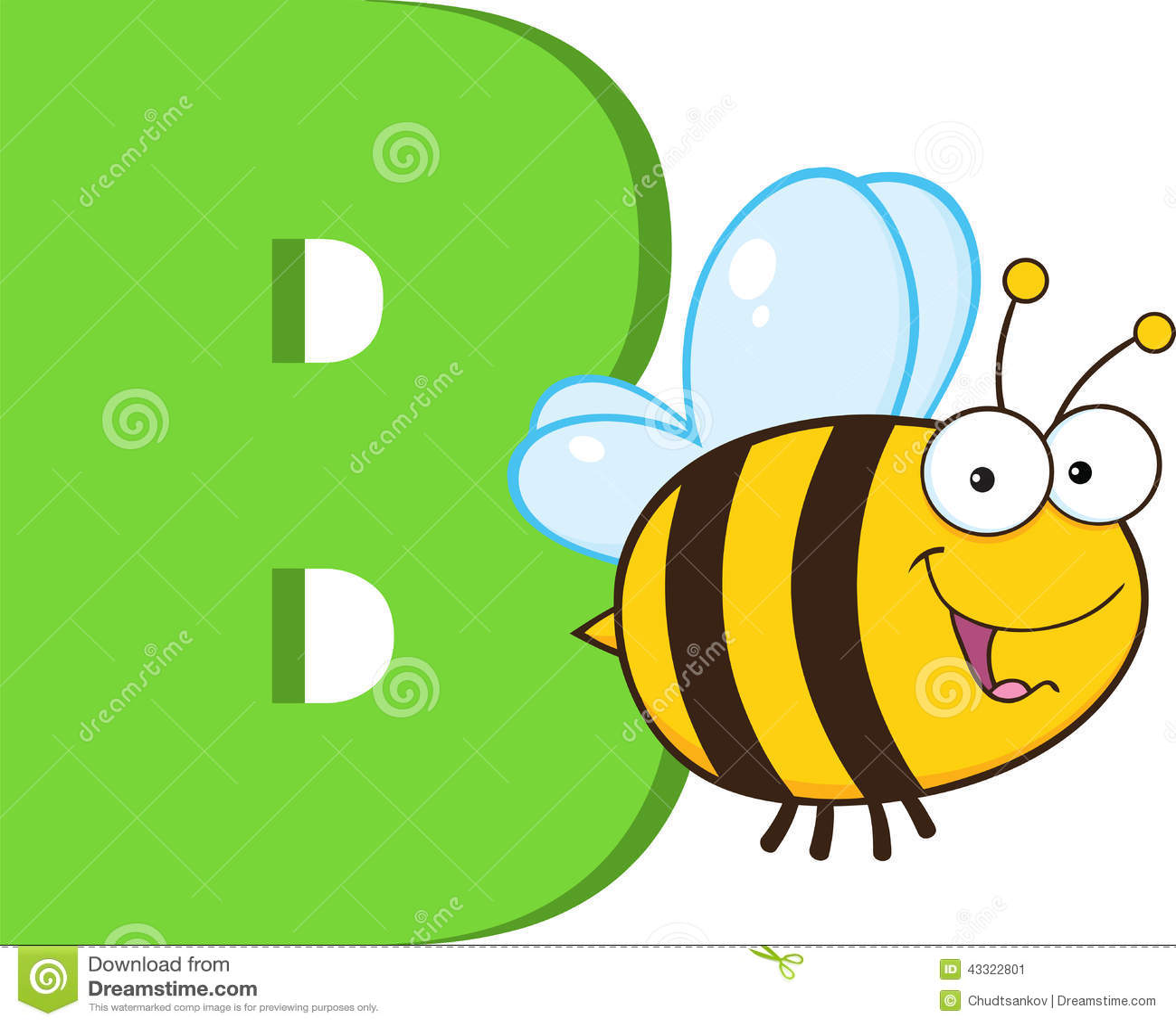 Funny Cartoon Alphabet B With Bee Stock Illustration