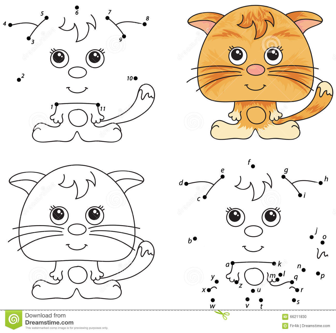 Funny Cartoon Cat Vector Illustration Coloring And Dot