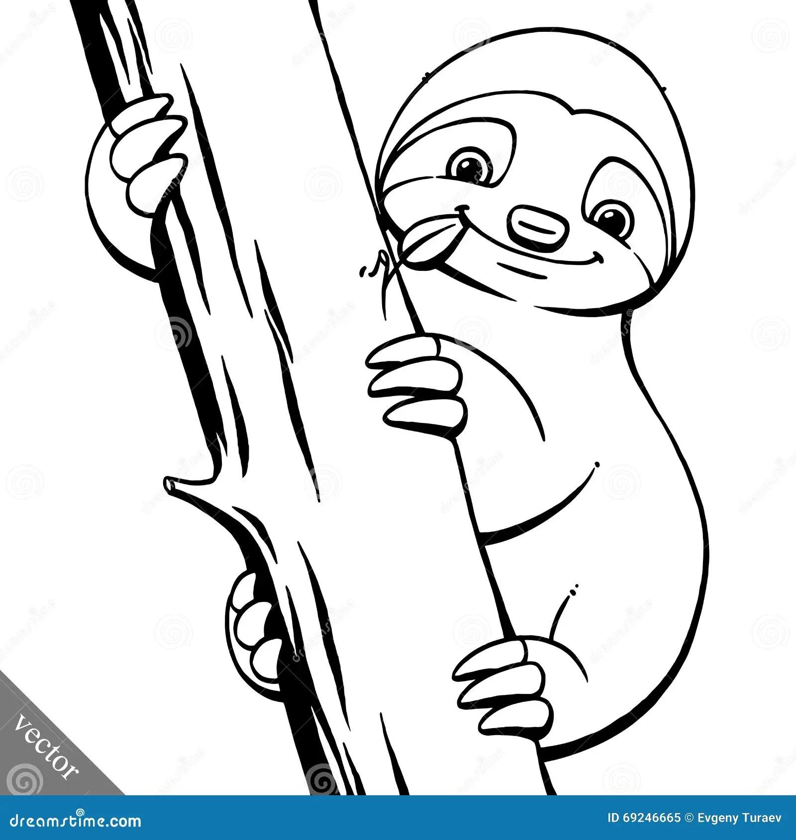 Funny Cartoon Cute Fat Vector Sloth Illustration Stock