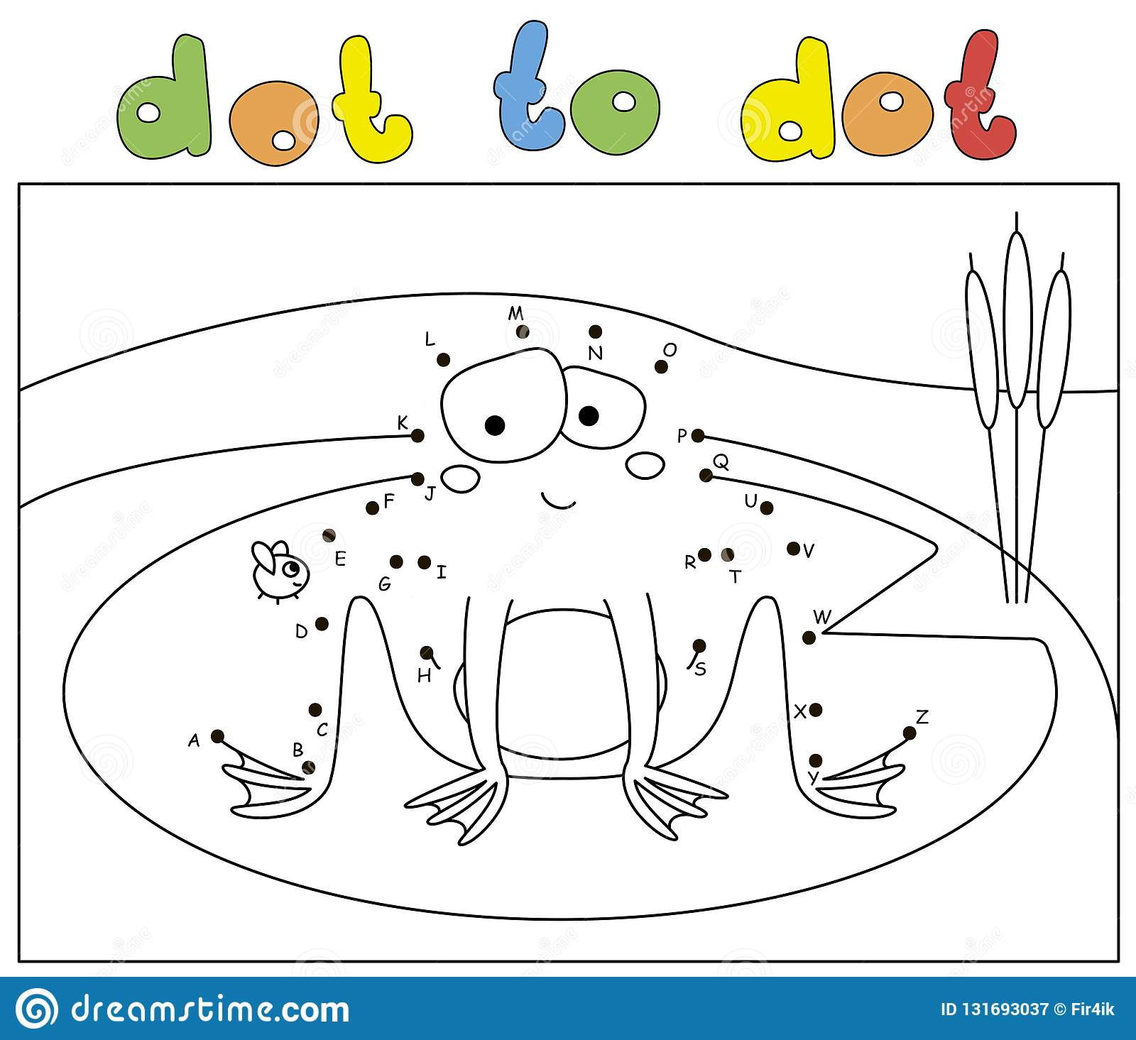 Funny Cartoon Frog And Fly Coloring Book And Dot To Dot