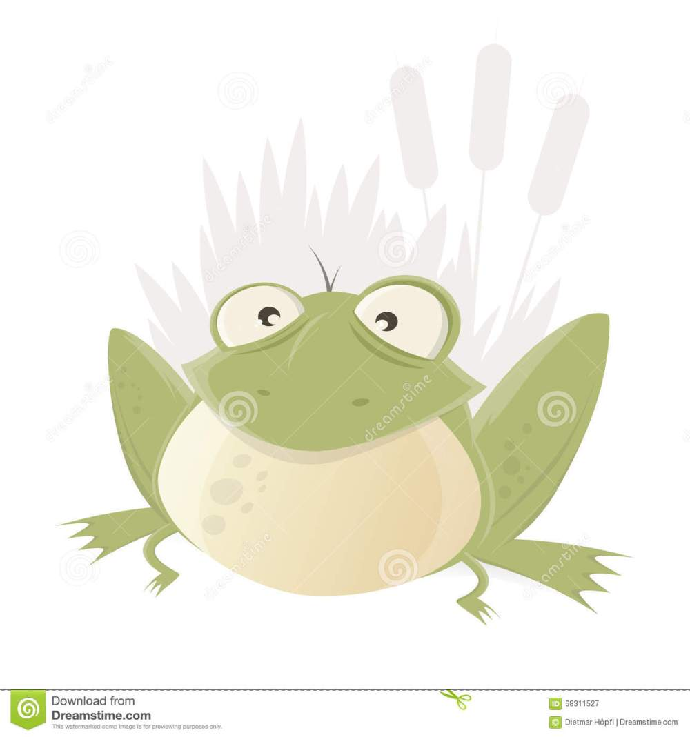 medium resolution of funny cartoon frog with reed in background