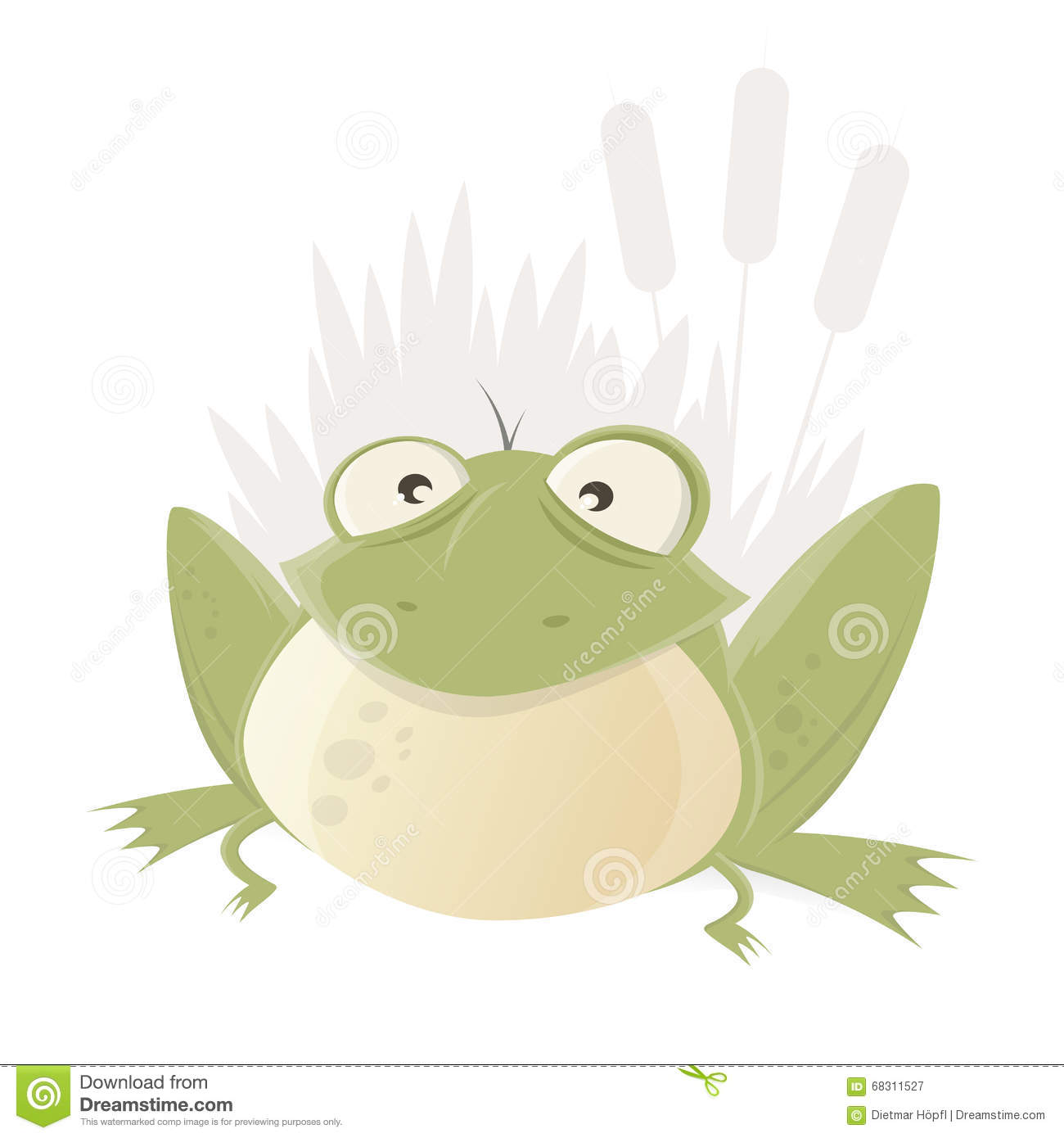 hight resolution of funny cartoon frog with reed in background