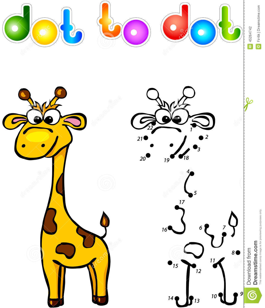 Funny Cartoon Giraffe Dot To Dot Stock Vector