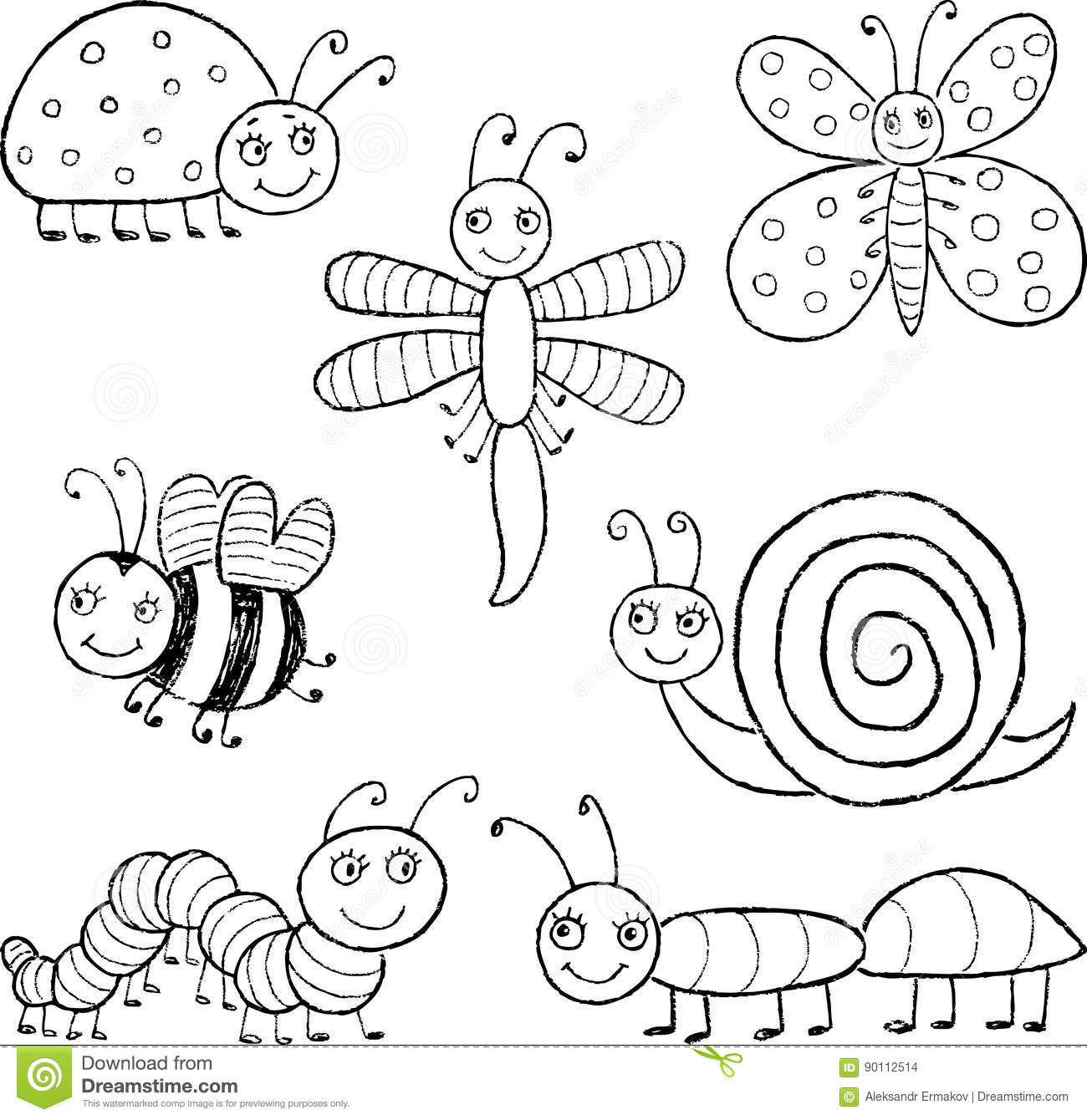 Funny Cartoon Insects Stock Illustrations 1 741 Funny