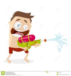 funny cartoon man shooting with a water gun [ 1300 x 1390 Pixel ]
