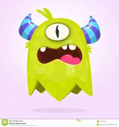 funny cartoon monster with horns with one eye angry monster emotion with big mouth halloween vector illustration  [ 1300 x 1390 Pixel ]
