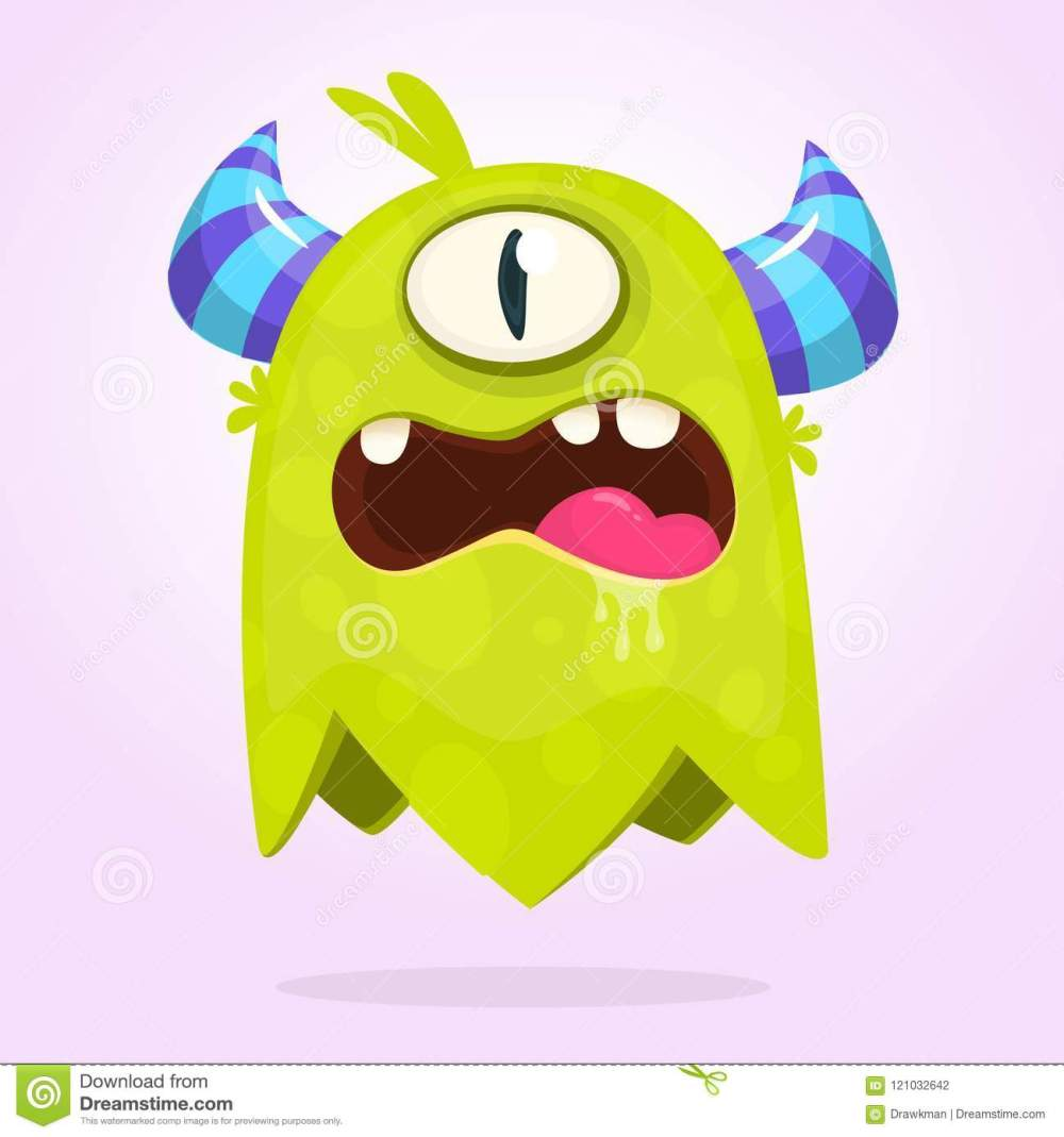 medium resolution of funny cartoon monster with horns with one eye angry monster emotion with big mouth halloween vector illustration