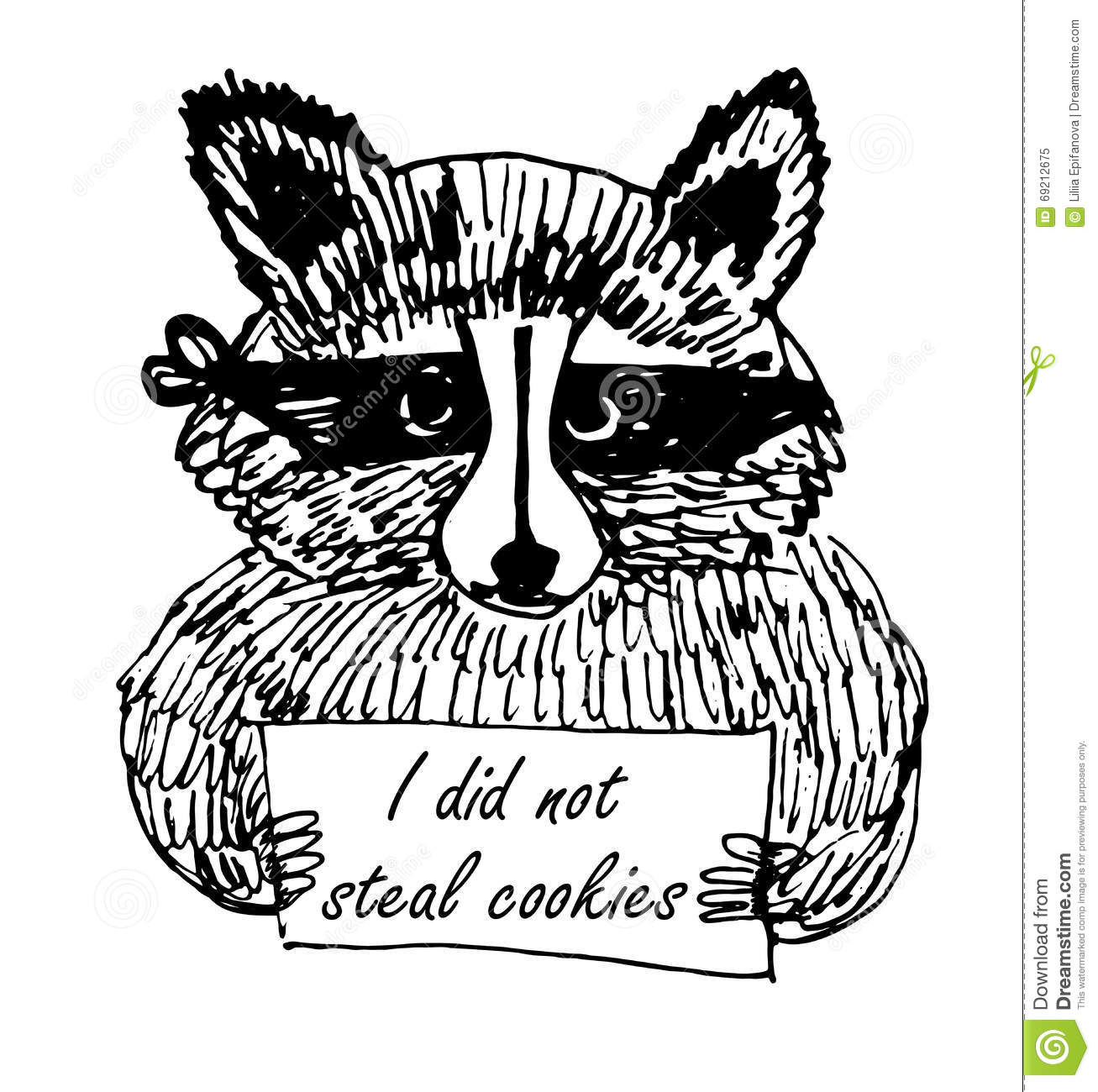Funny Cartoon Picture Raccoon Thief Sketch Illustration