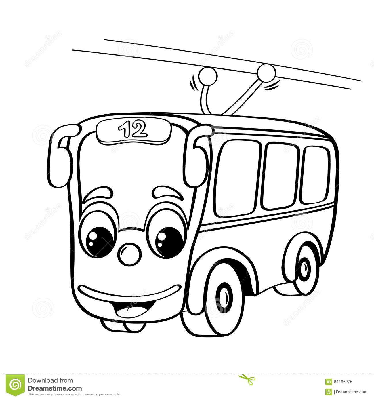 Funny Cartoon Trolleybus Stock Vector Illustration Of Character