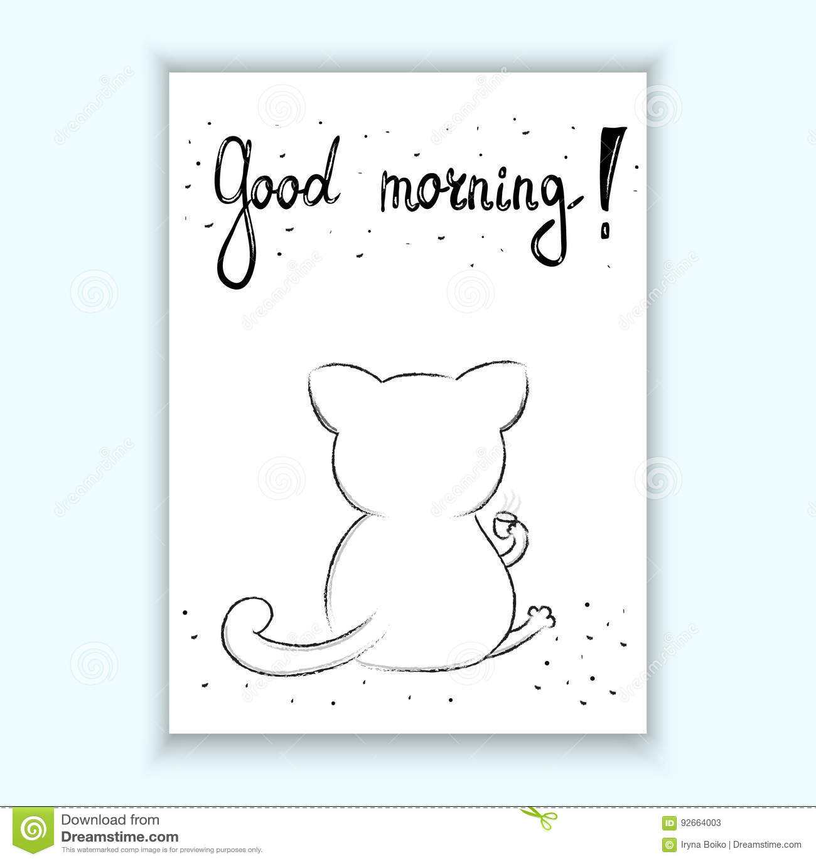 Funny Cartoon Vector Cat Print Good Morning Card Stock