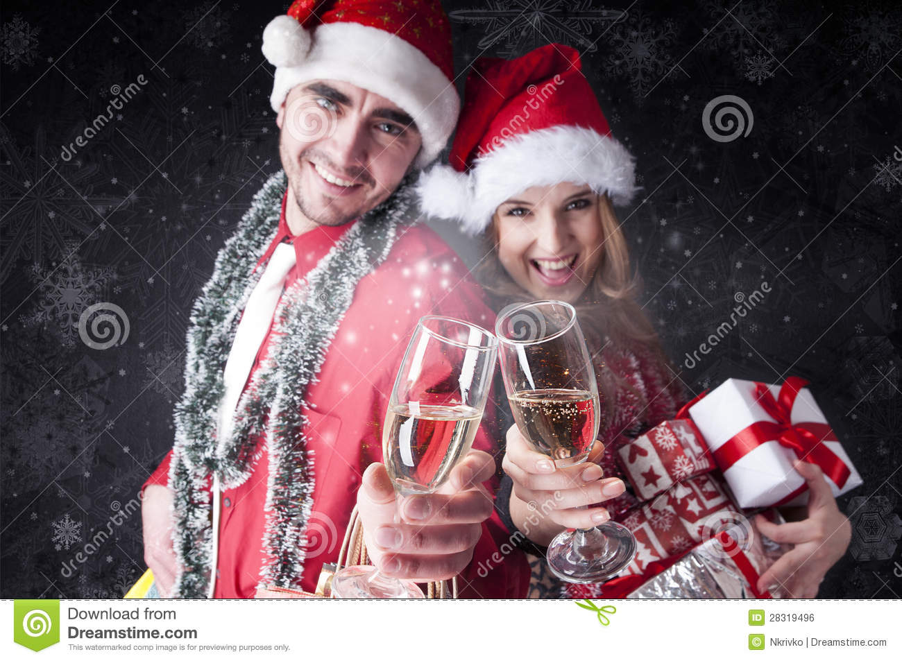 Funny Christmas Couple With Glasses Of Champagne Stock