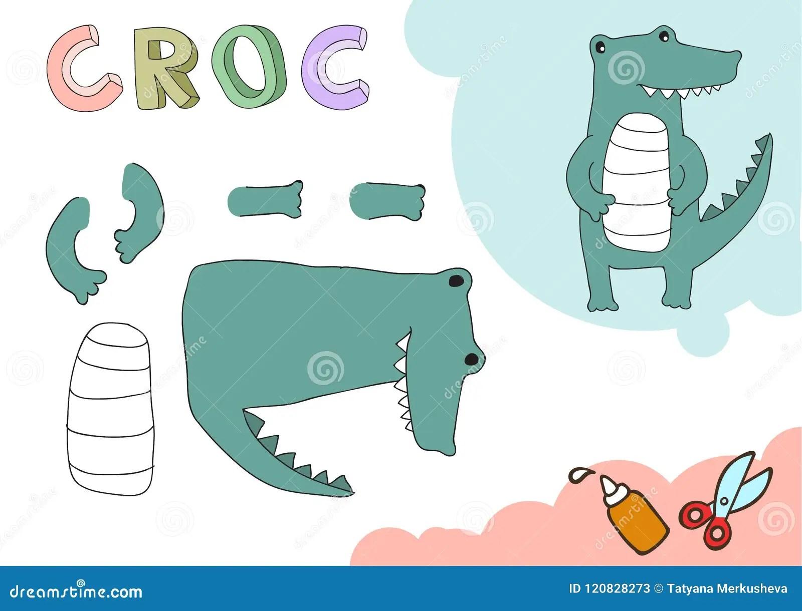 Funny Croc Paper Model Small Home Craft Project Diy