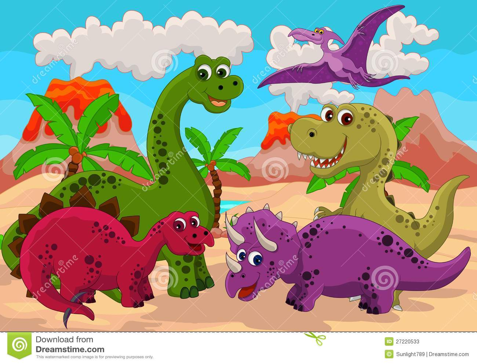 Cute Baby Lizards Wallpaper Funny Dinosaur Cartoon Set Stock Illustration