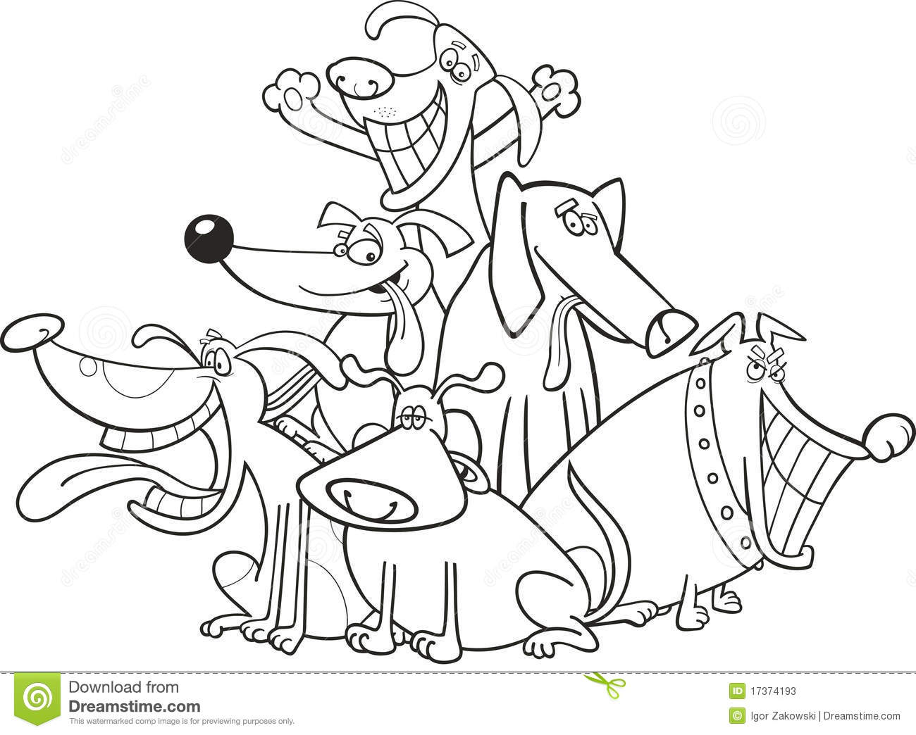 Funny Dogs For Coloring Stock Vector Image Of Muzzle