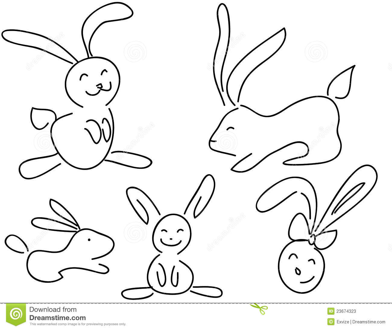 Funny Doodle Rabbits Stock Vector Illustration Of Doodle
