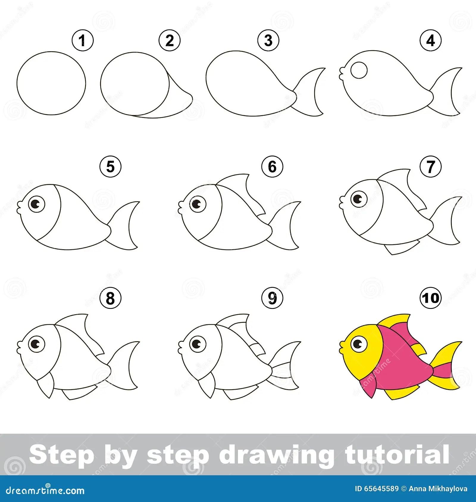 Funny Fish Drawing Tutorial Stock Vector