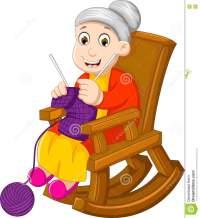 Funny Grandmother Cartoon Knitting In A Rocking Chair ...