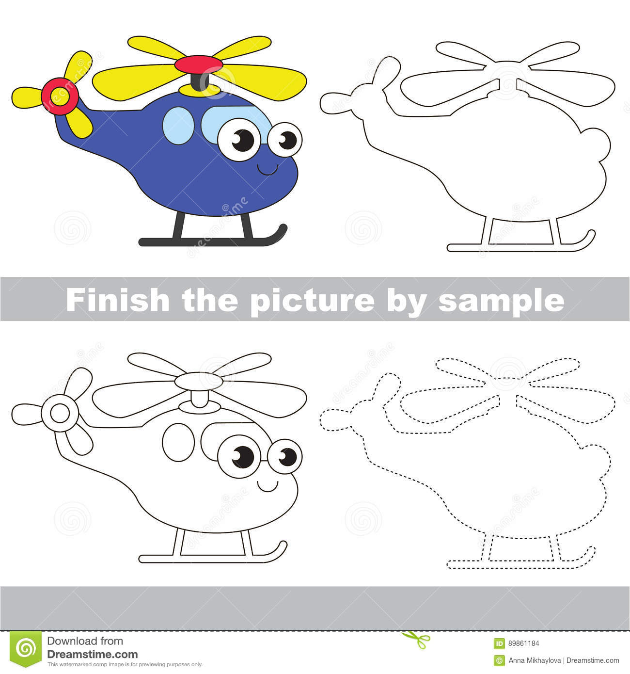 Funny Helicopter Vector Illustration