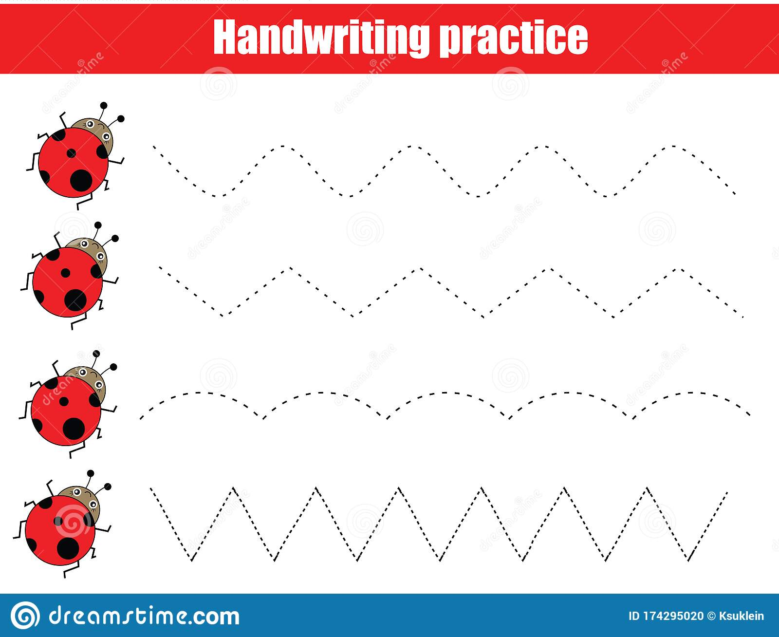 Funny Ladybugs Handwriting Practice Sheet Educational