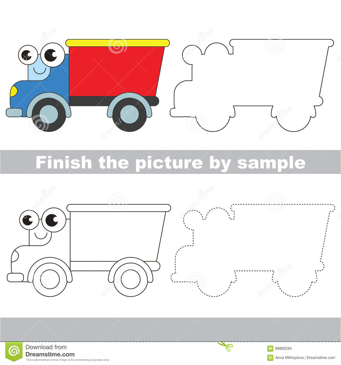 Funny Lorry Drawing Worksheet Stock Vector