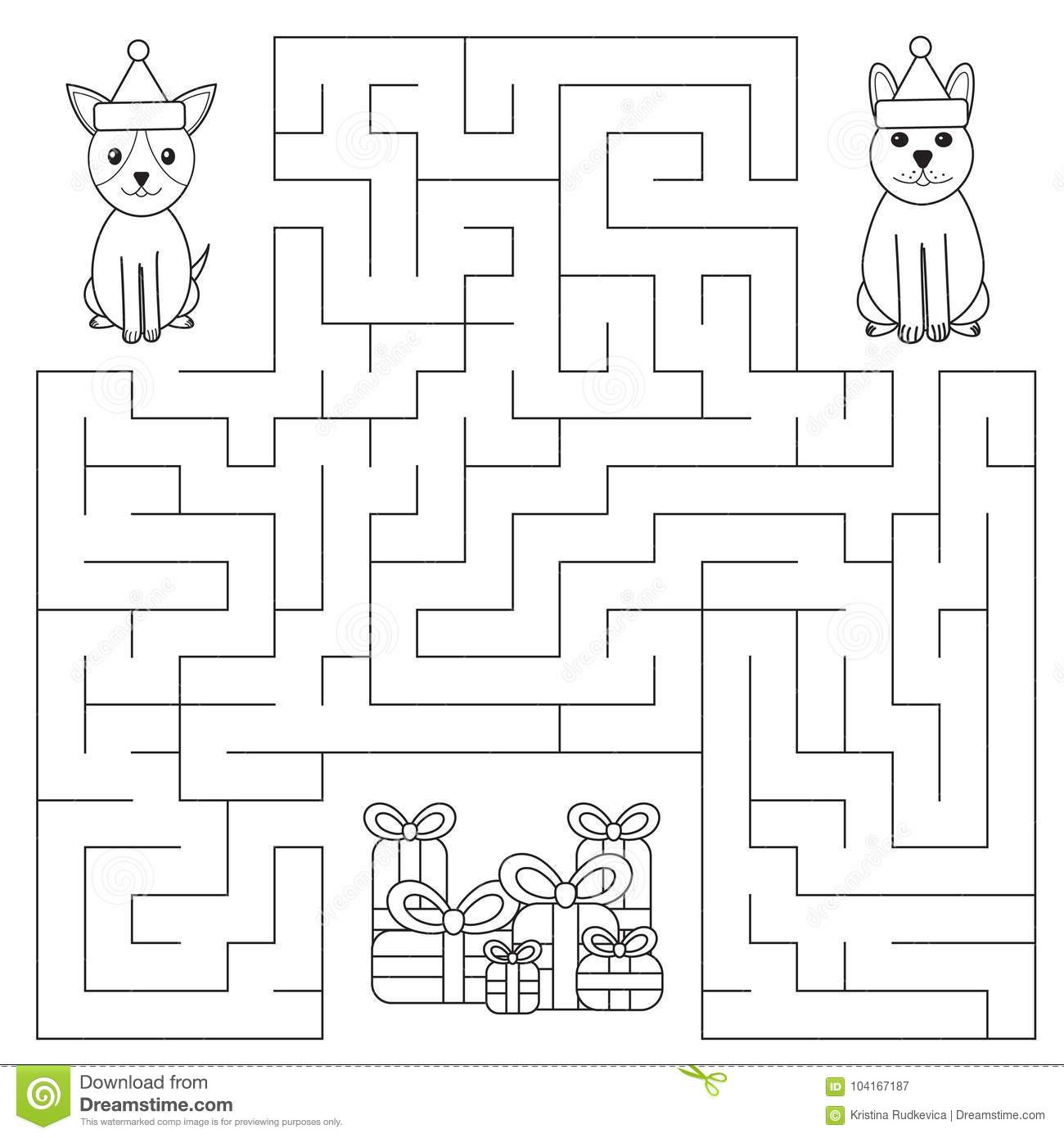 Funny Maze For Children Dogs Are Looking For Ts Stock