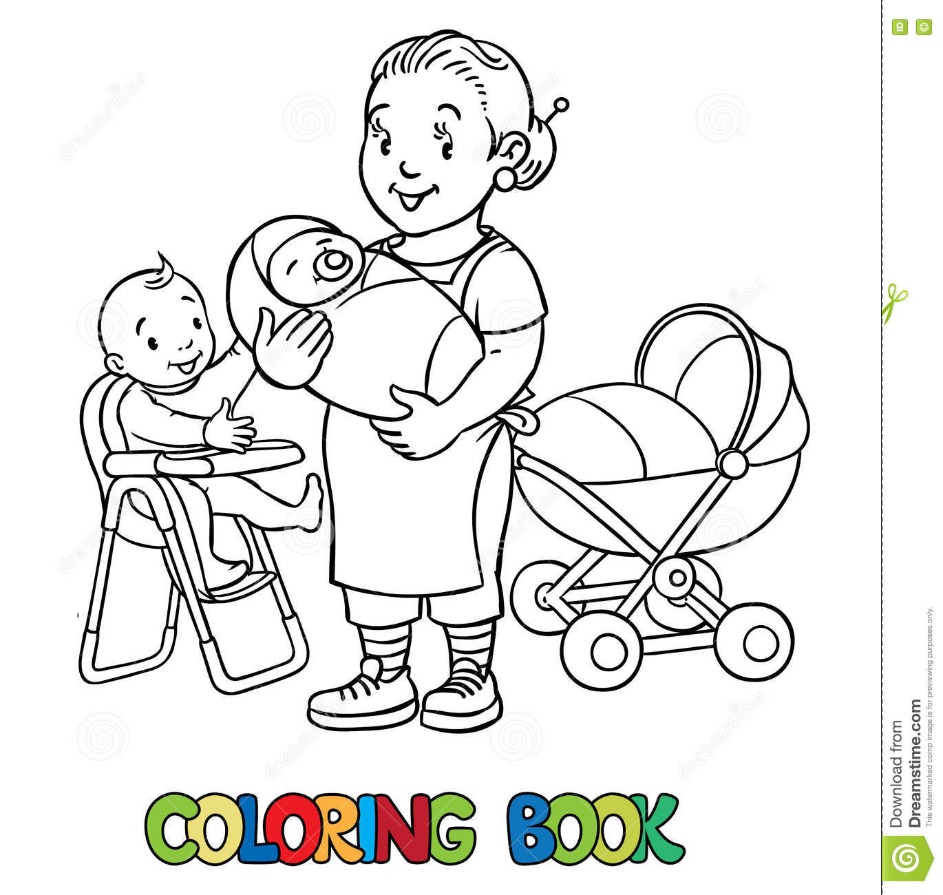 Funny Nanny With Children Coloring Book Vector Illustration