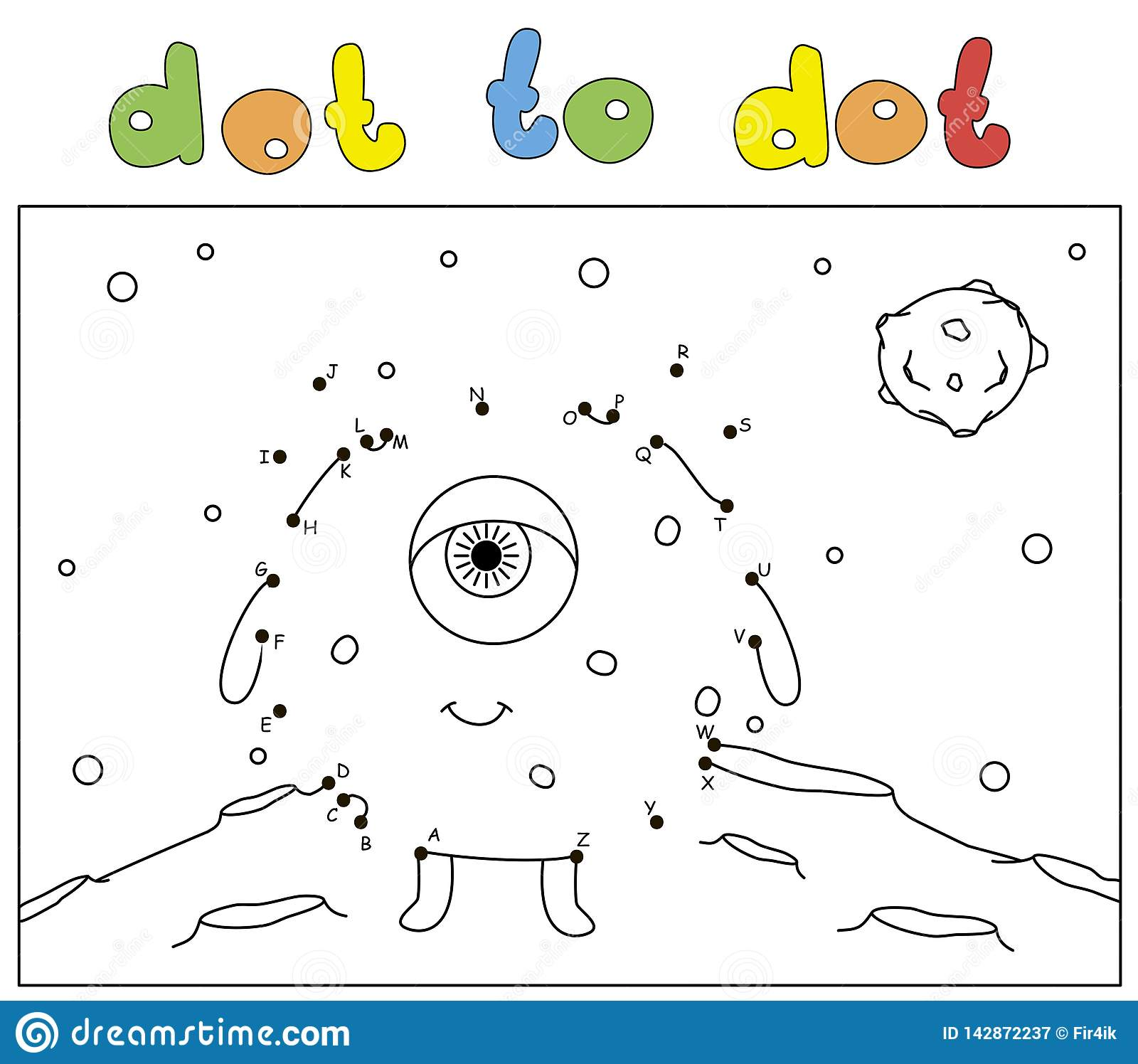Funny One Eyed Alien On The Surface Of Moon Coloring Book