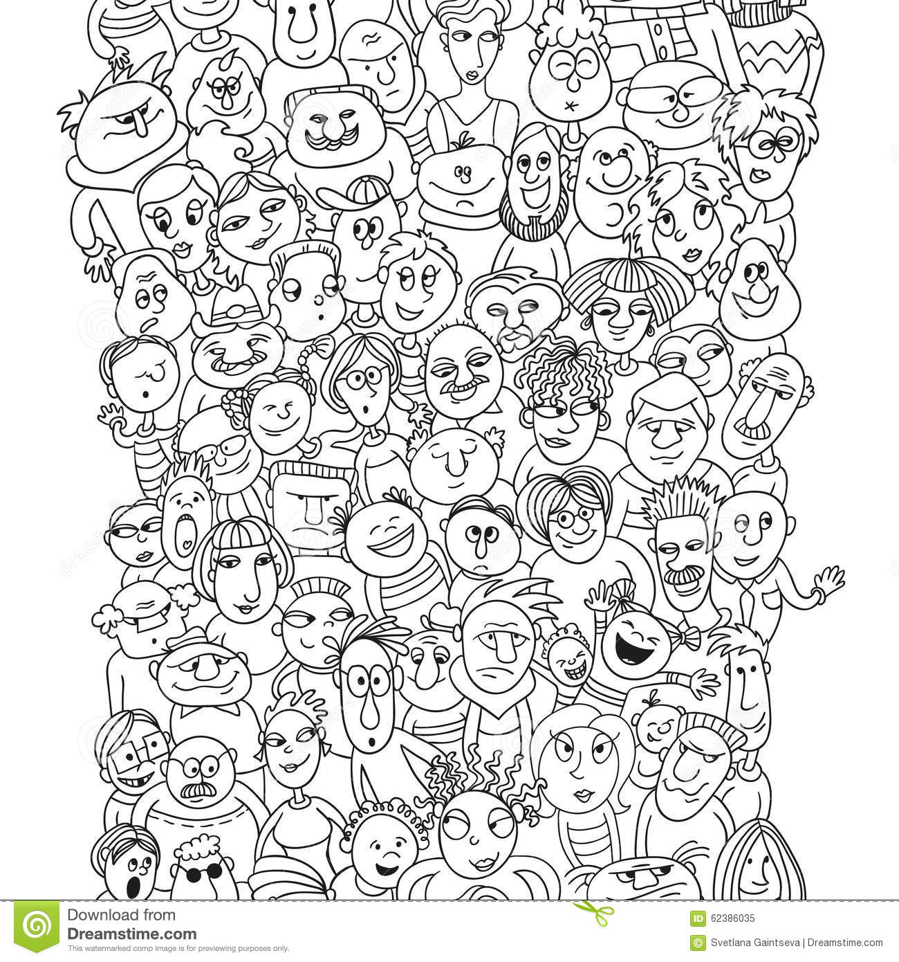 Funny Pattern Crowd Of People Faces Stock Vector